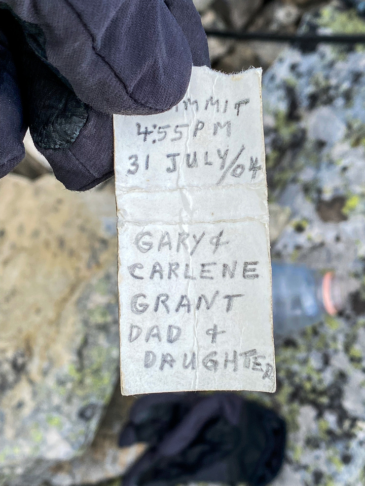 Summit register was several pieces of paper - this was the oldest.
