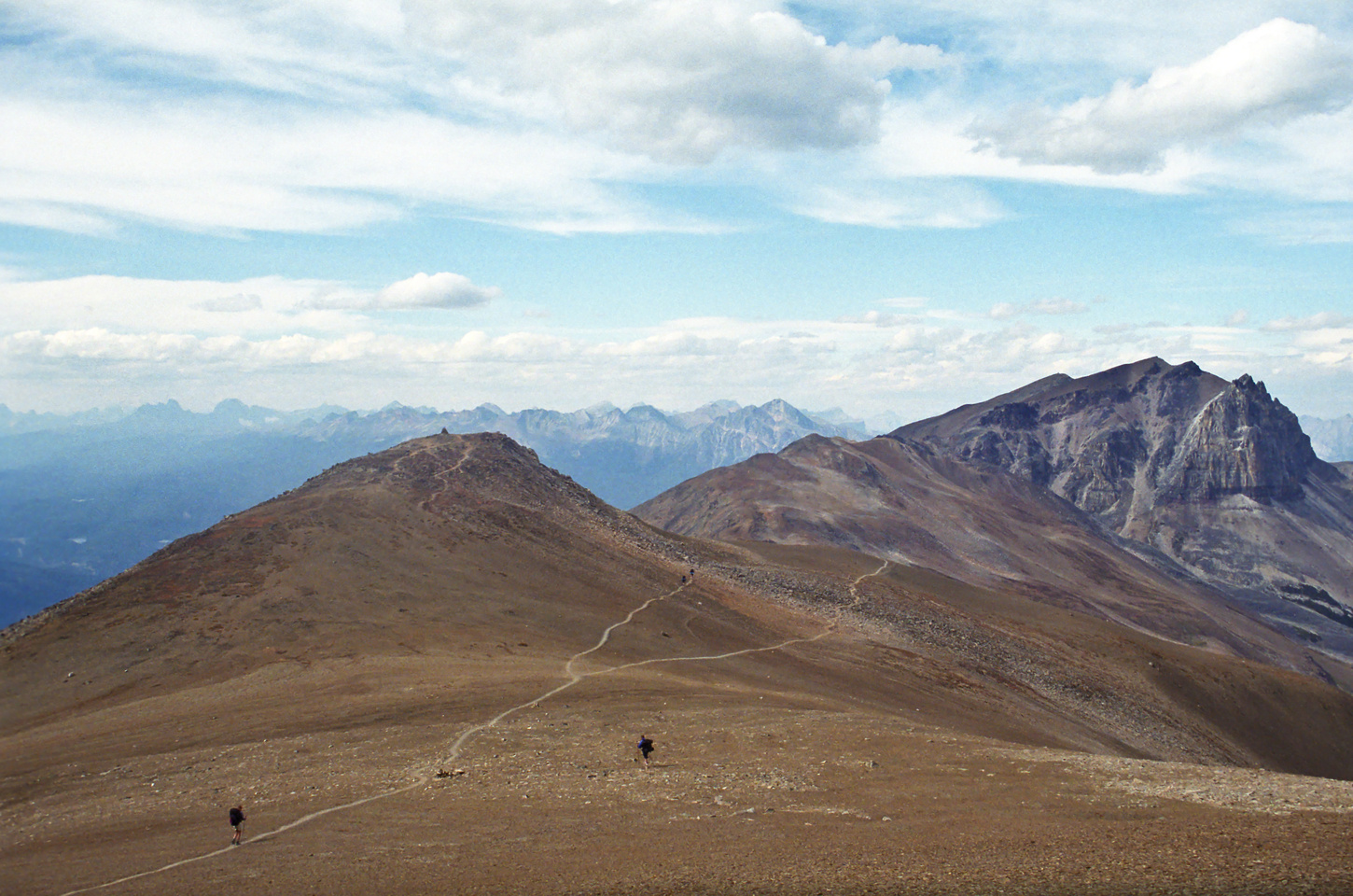 Looking ahead from near Amber Mountain's summit to Mount Tekarra at right. We will descend to the Tekarra campground out of the photo on the right.