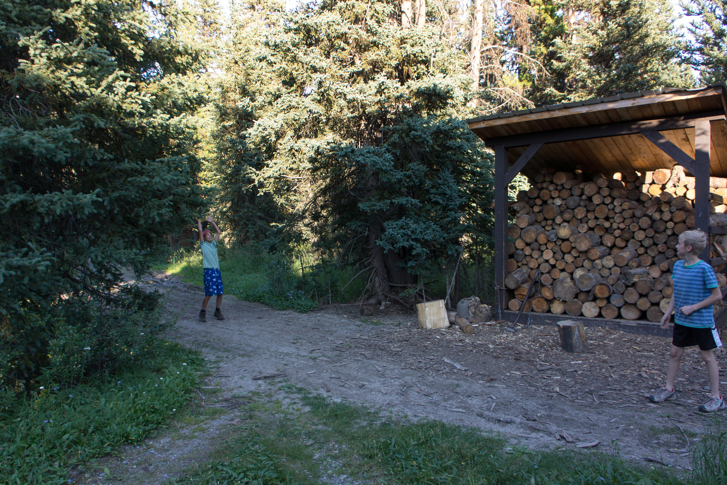 Playing outside the cabin. The firewood is shared with the campground that's at the lower Elk Lake.