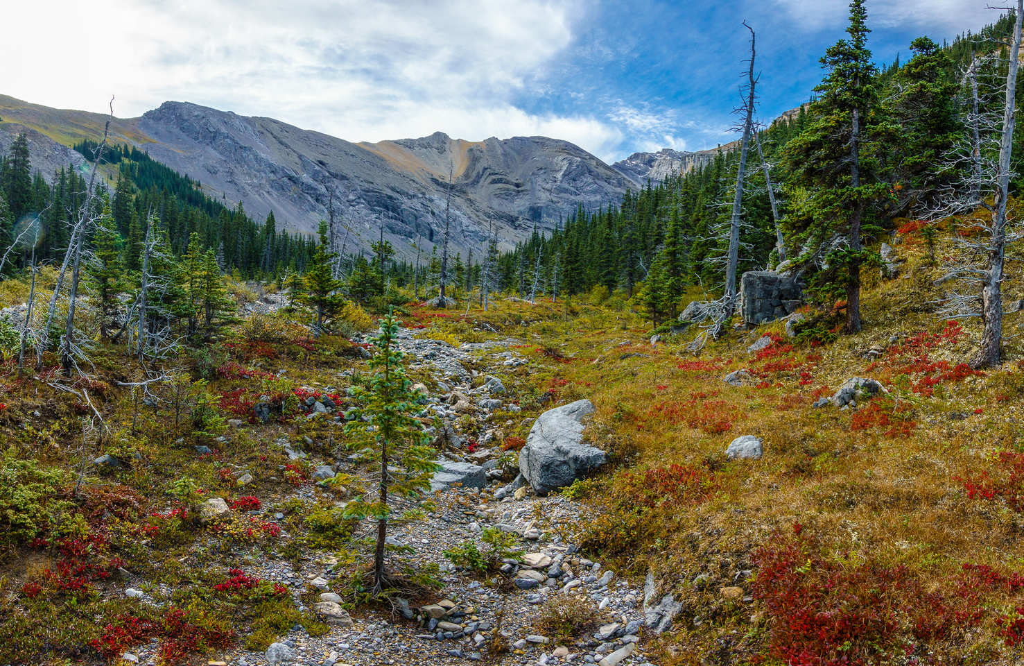 A beautiful valley with fall colors to the north of Zombie Peak.