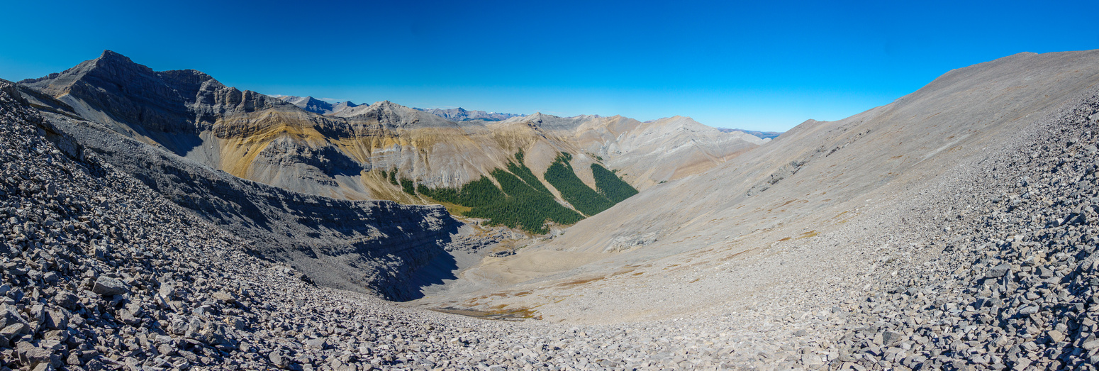 My descent ridge at left down to mid center.