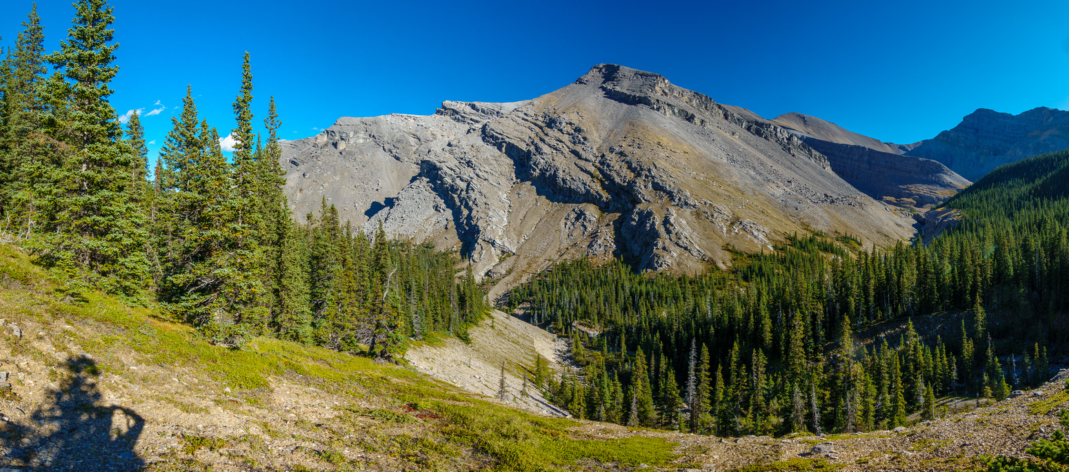Still traversing above Sheep Creek with my exit route at left.