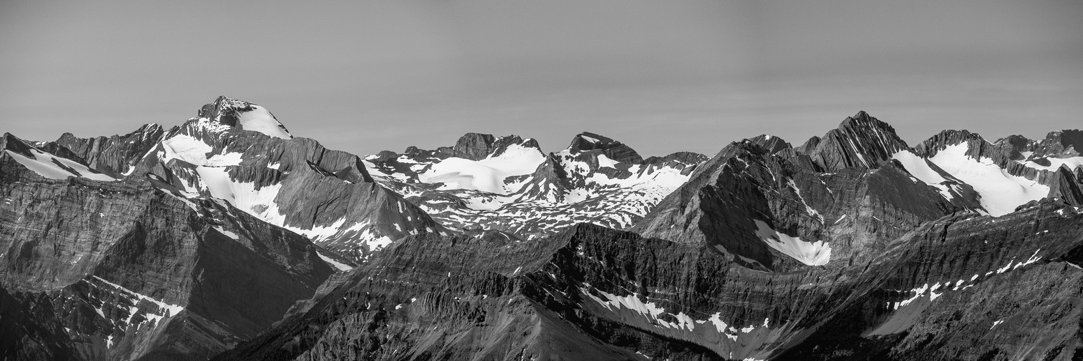 Aster Lake peaks include (L to R), Marlborough, Joffre, Mangin, Cordonnier and Lyautey.