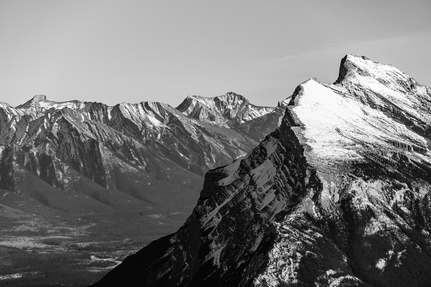 Dramatic shot past Mount Rundle.