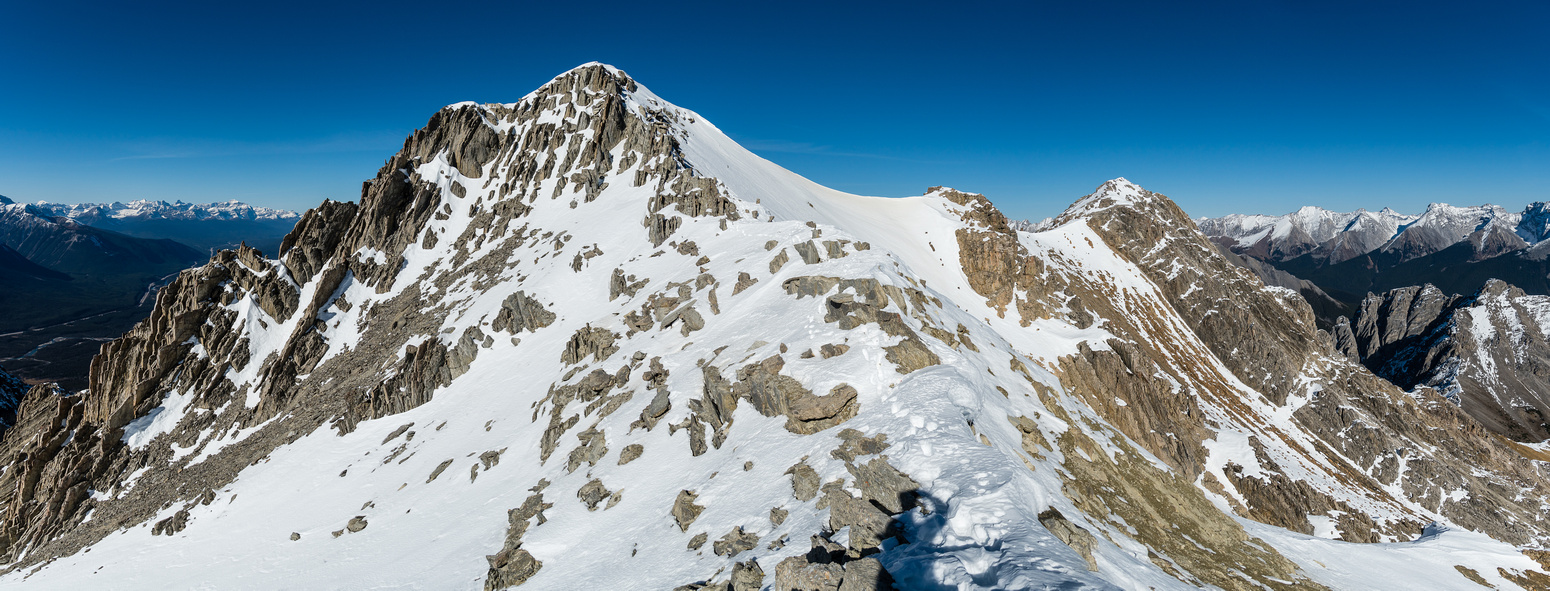 The false summit at center-left with the true one at right.