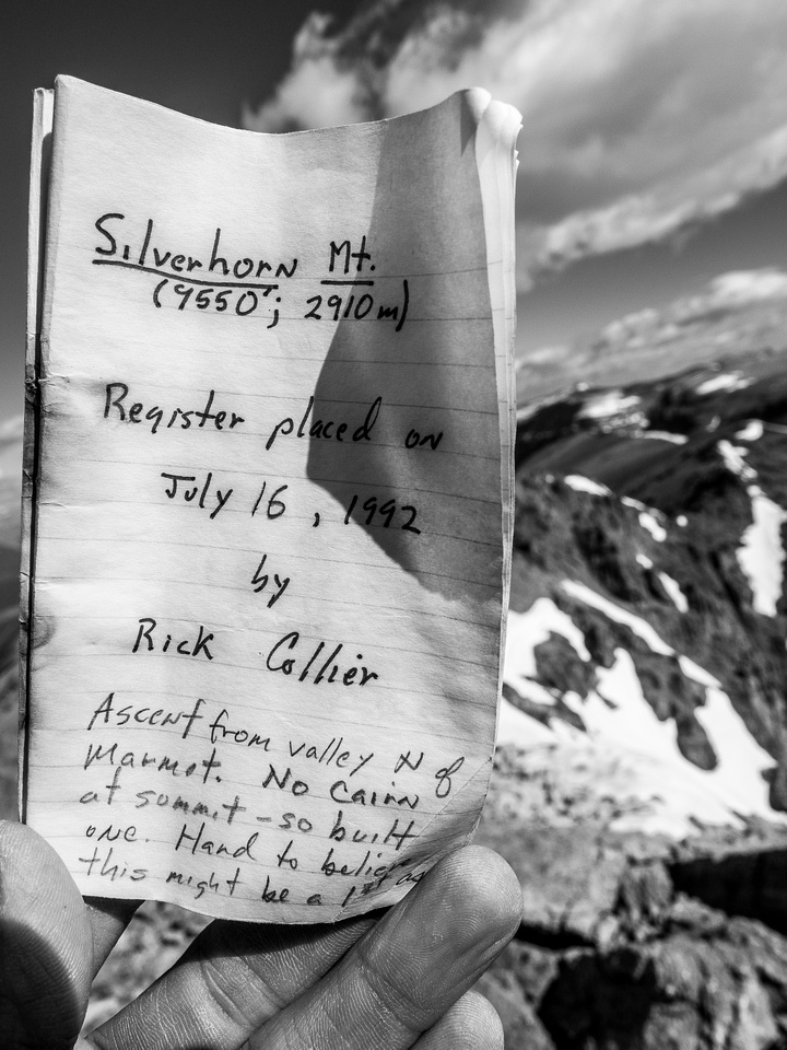 A Rick Collier register from 1992 with several dozen ascents since then. In 2017 the mountain got quite popular, likely thanks to Nugara's guidebook.