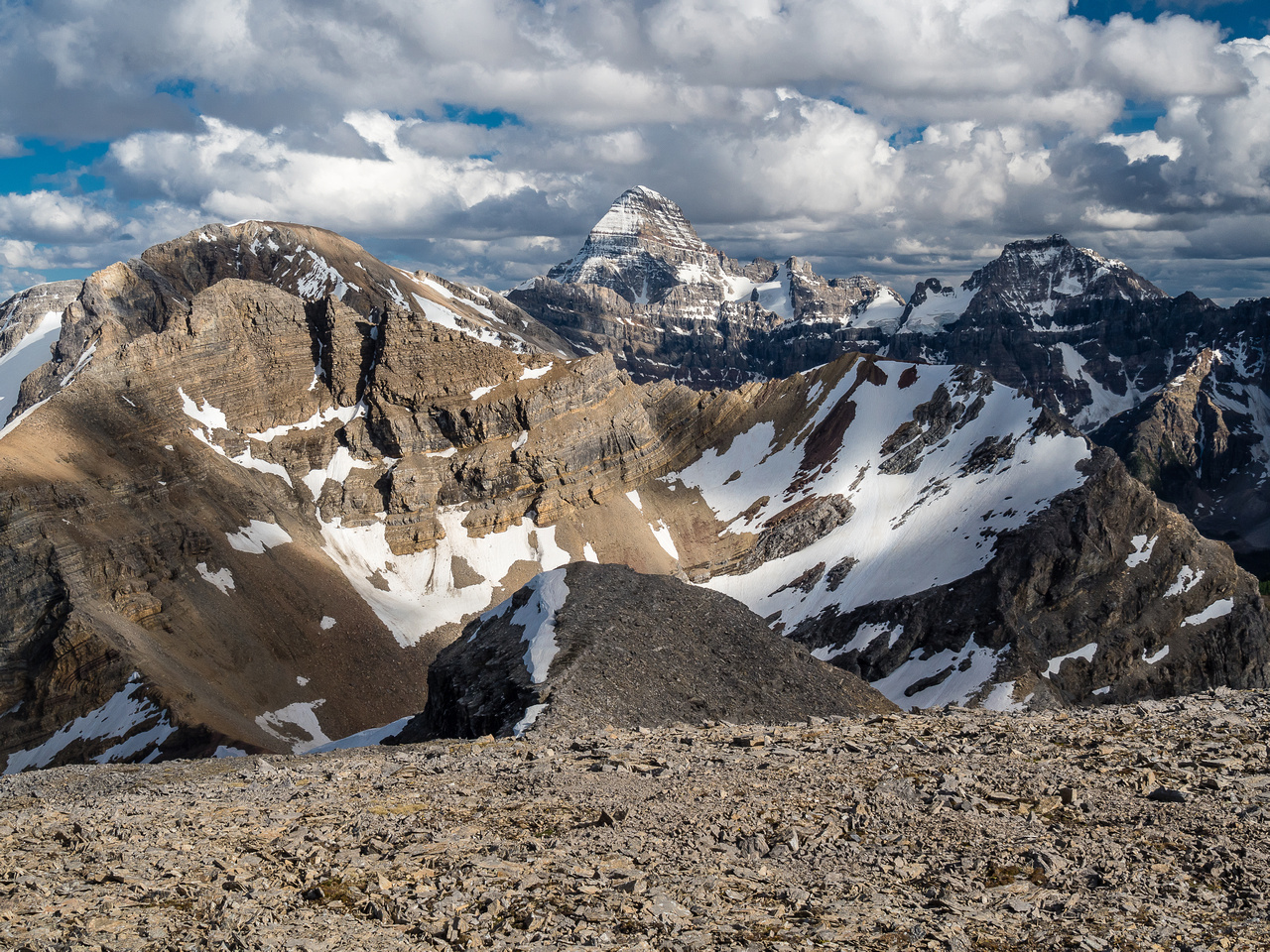 """Simpson Peak"" is barely visible in front of Nestor Peak at left. Assiniboine and The Marshall continue to steal the show as usual."