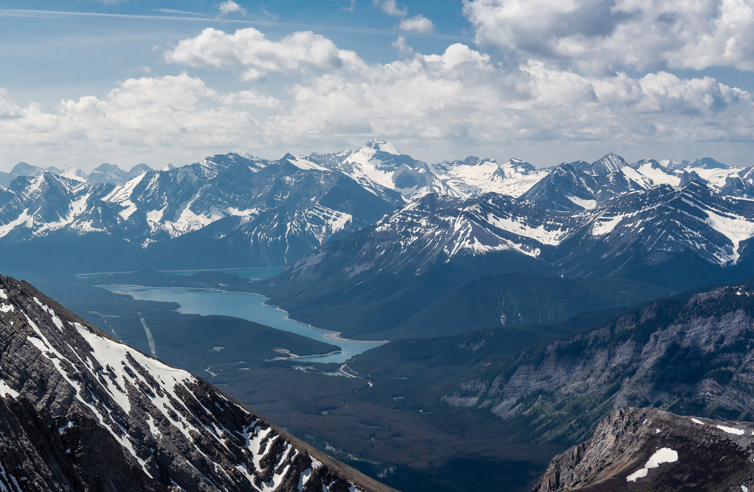 A slightly wider view towards the Aster Lake region with the Kananaskis Lakes at lower left. Foch, Sarrail, Indefatigable, Warrior, Lyatey and Invincible now showing up.