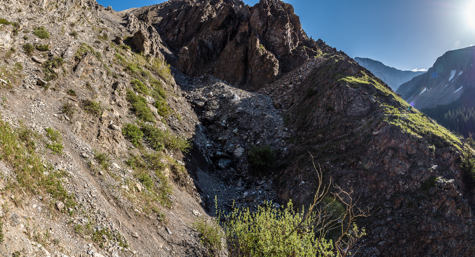 Just one example of the interesting avalanche gully crossings along the trail. Typically they are marked with cairns.