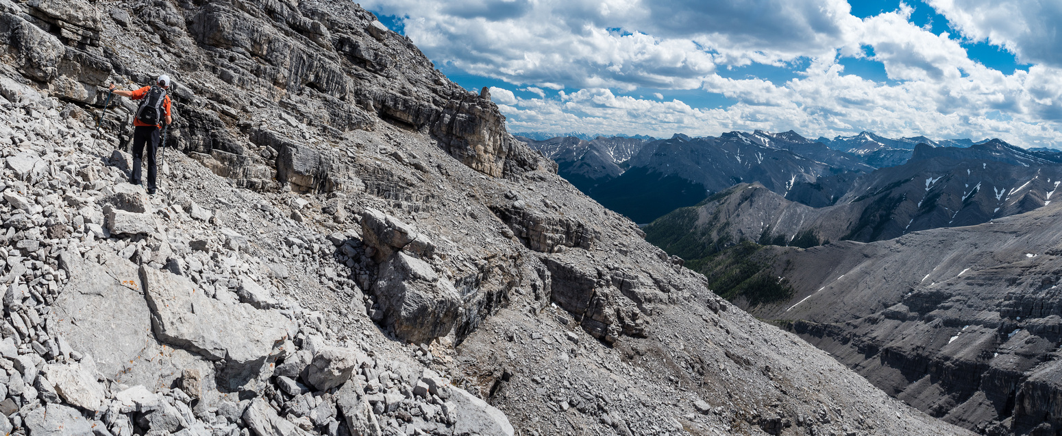 Looking along our exit route at left with the summit at upper center. Sonny's difficult ridge is across the drainage here.