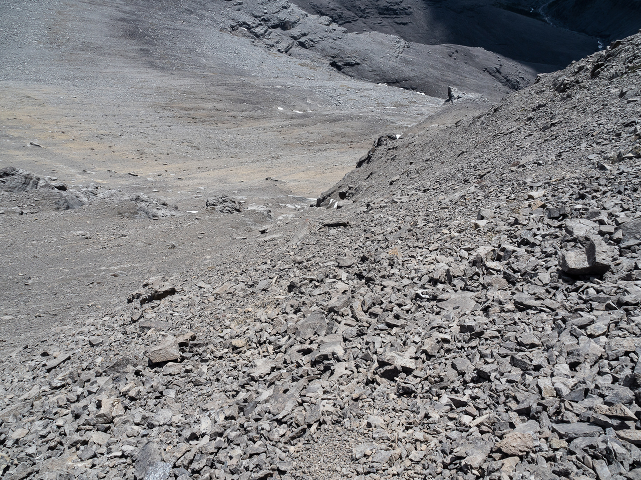 Looking down the scree bowl.