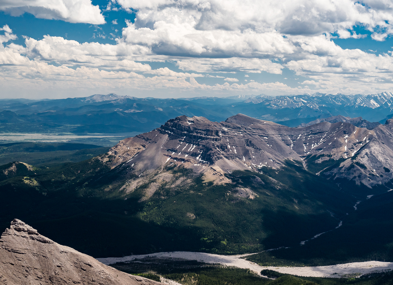 End Mountain (C) and Association Peak (R) looks small from here. Moose Mountain at distant left.