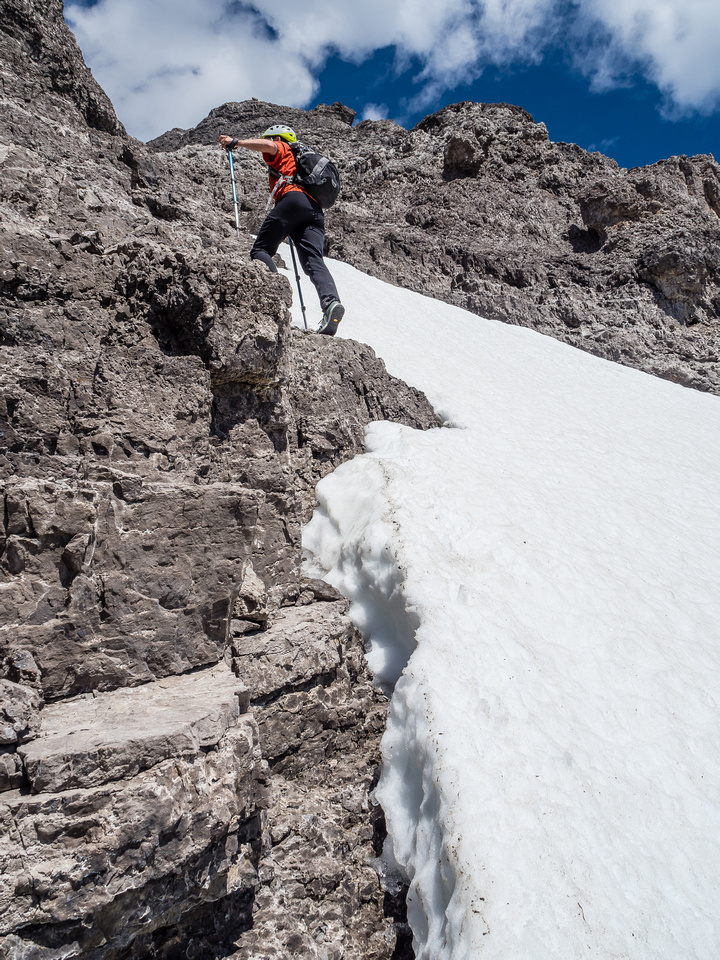 On descent we used the snow patch but on ascent we climbed solid(ish) rock next to it.