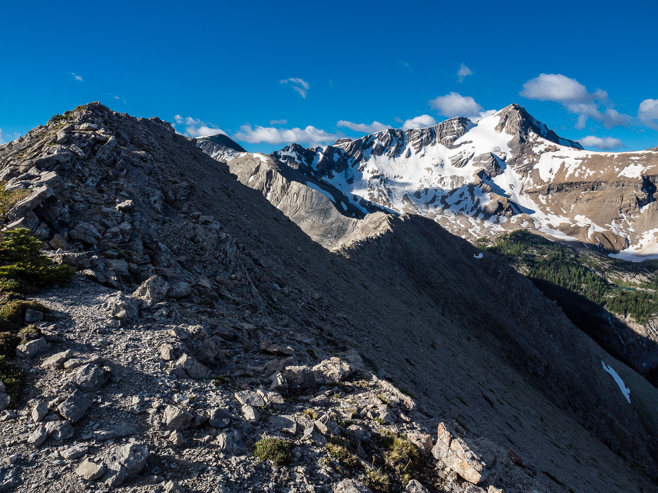 Looking ahead to the rest of the ridge and Nestor Peak with its north pocket glacier.