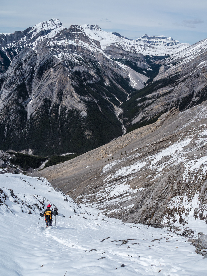 Trying to avoid the slick slab that's hiding under the fresh snow as we descend to the choke.