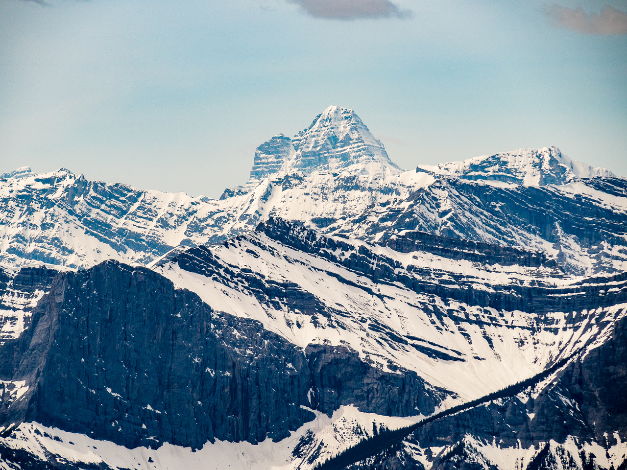 Mount Assiniboine looms over everything - as usual. Lunette at left.