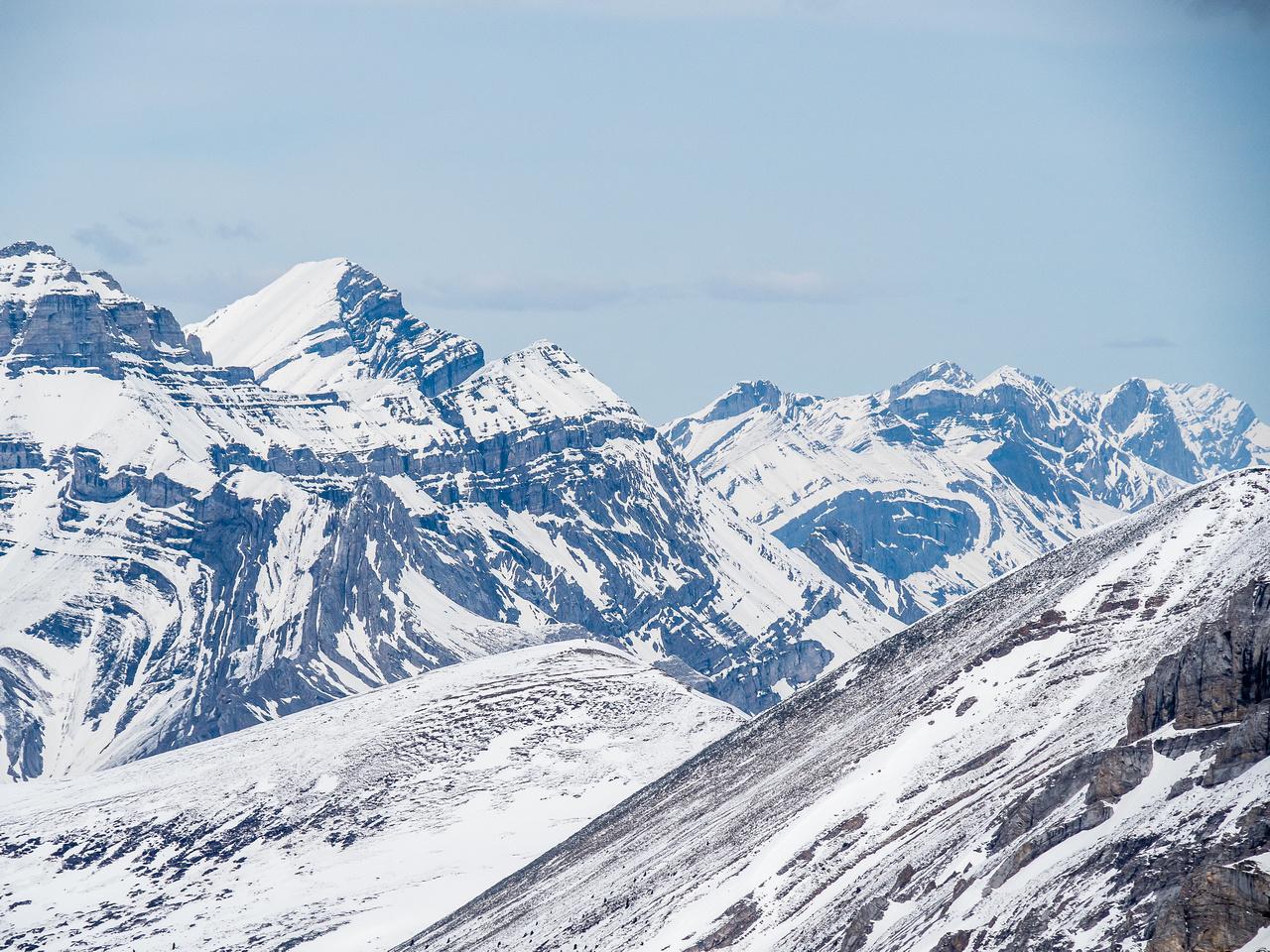 Mount Girouard at left with Mount Astley at distant right of center.
