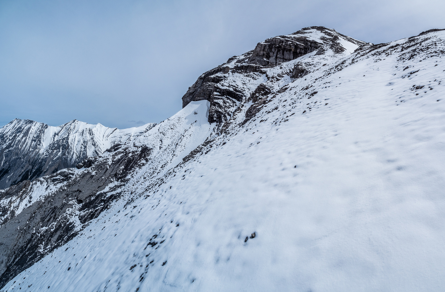 Looking up to the col and ascent slope to the summit ridge.