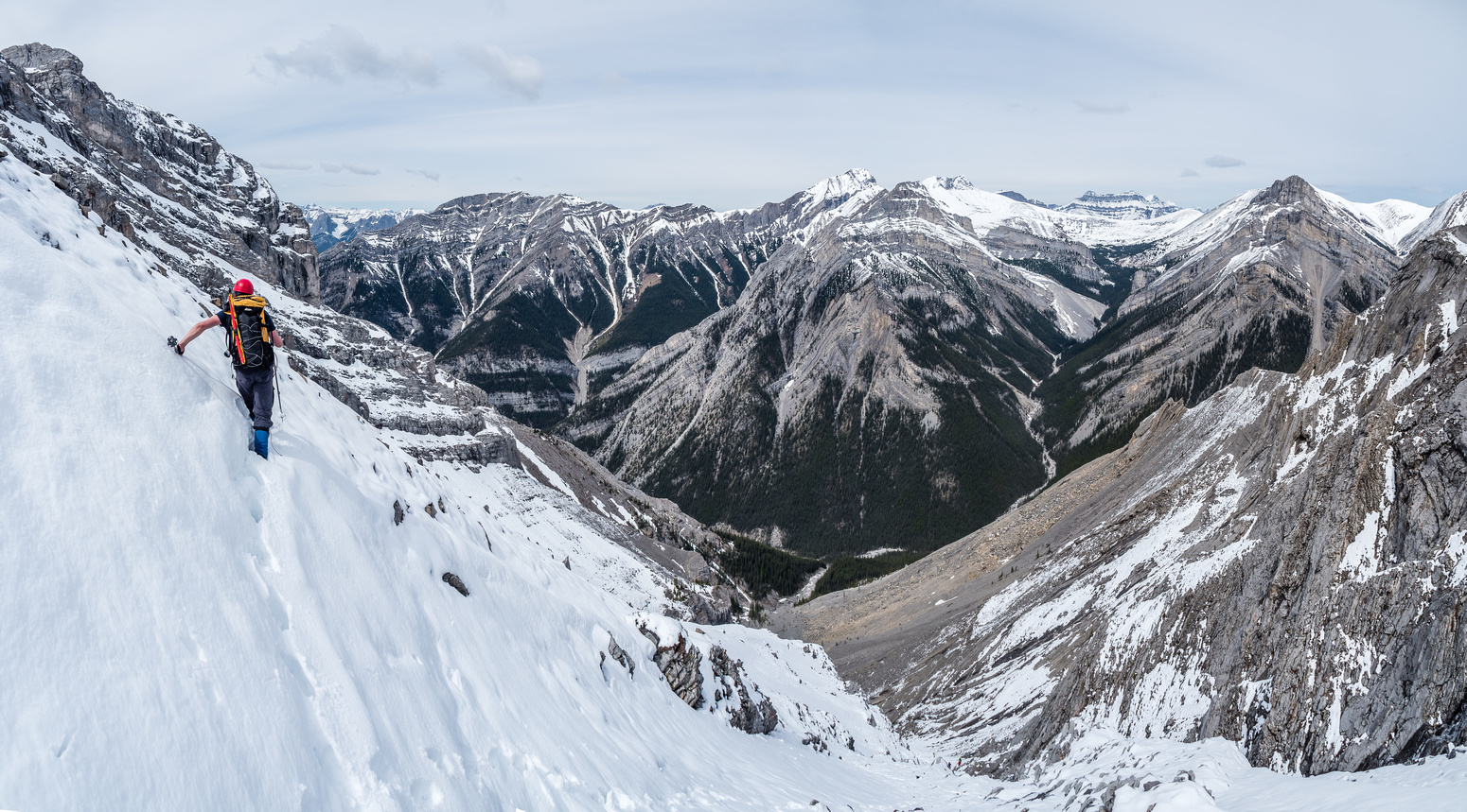 One last steep traverse to avoid some slabby terrain and get onto easier slopes to the summit ridge.