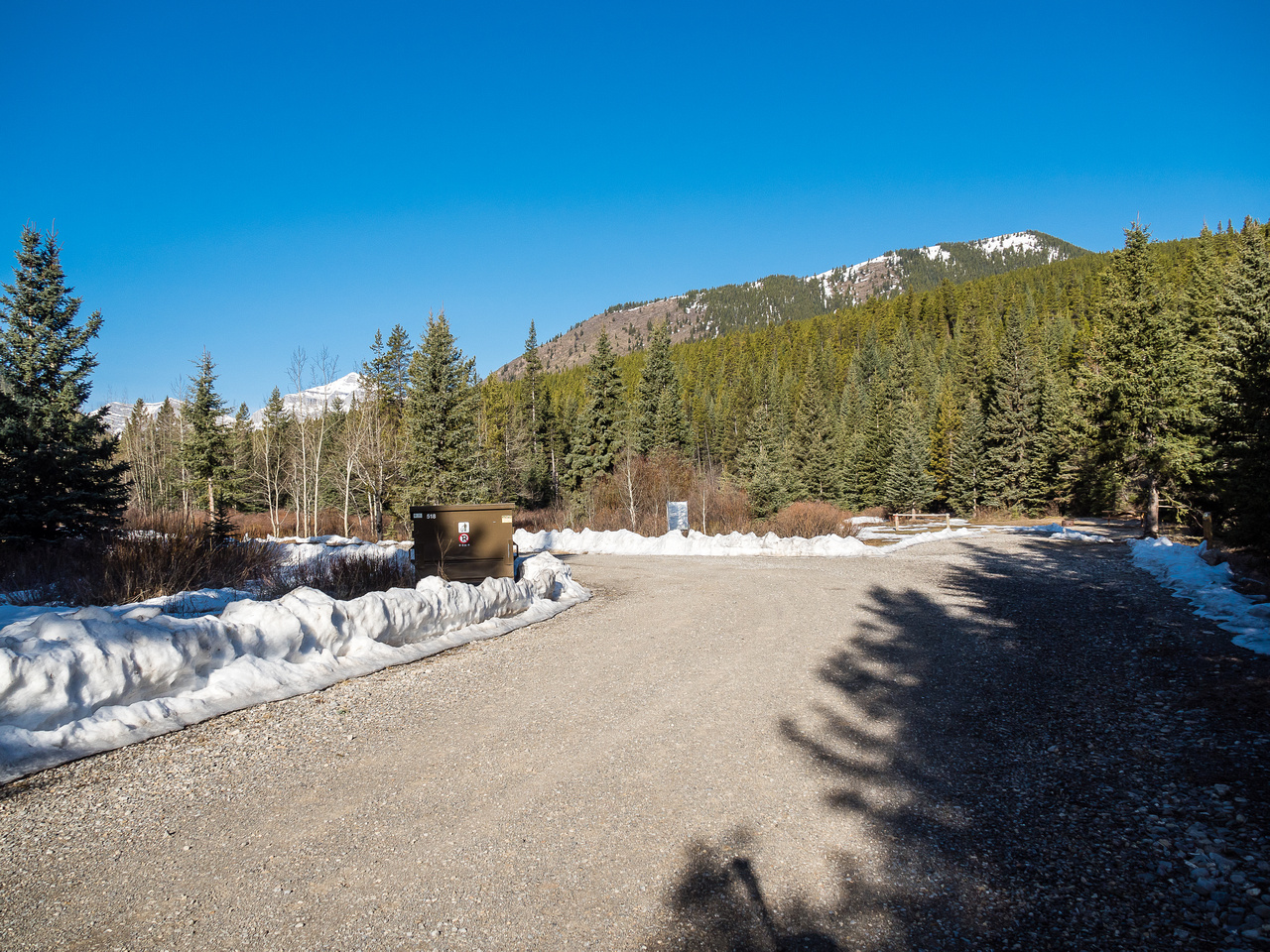 The campground is still closed this early in the season. E-B Ridge rises in the distance looking pretty snowy up top.