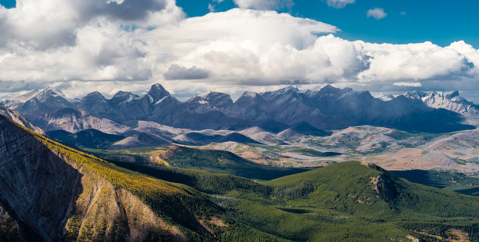 Stunning views north towards the Crowsnest Pass area from the summit.