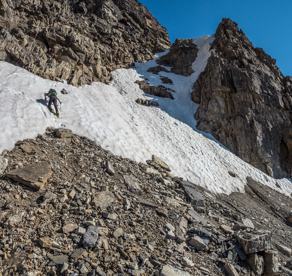 Phil down climbs the last steep bit of snow in fine form.