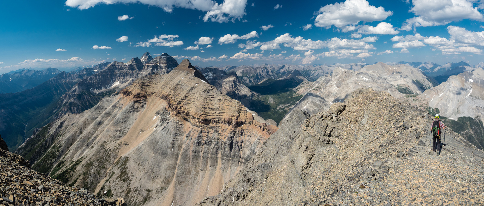 """This is the only """"walk on scree"""" which doesn't last very long. Another special place to be in the Rockies with some excellent views over the core Assiniboine area."""