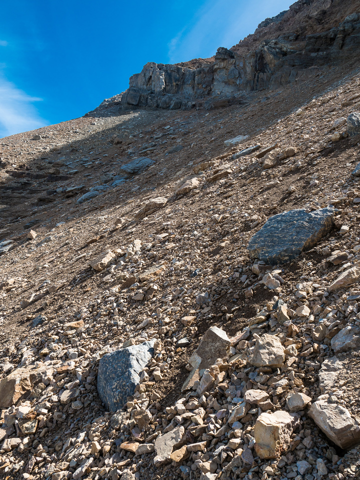 Looking up at the terrain as it curves towards the north end of the summit ridge - the break through the cliffs is obvious at upper left.