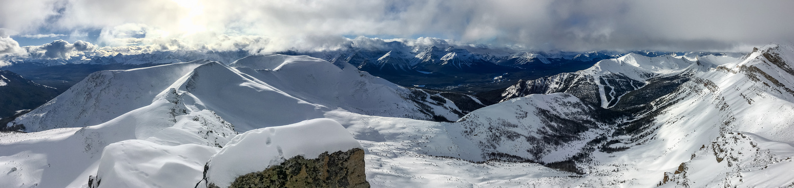 Purple Mound, Lipalian, Wolverine Ridge, Wolverine Valley, Whitehorn, Redoubt with many Lake Louise peaks in the far background.
