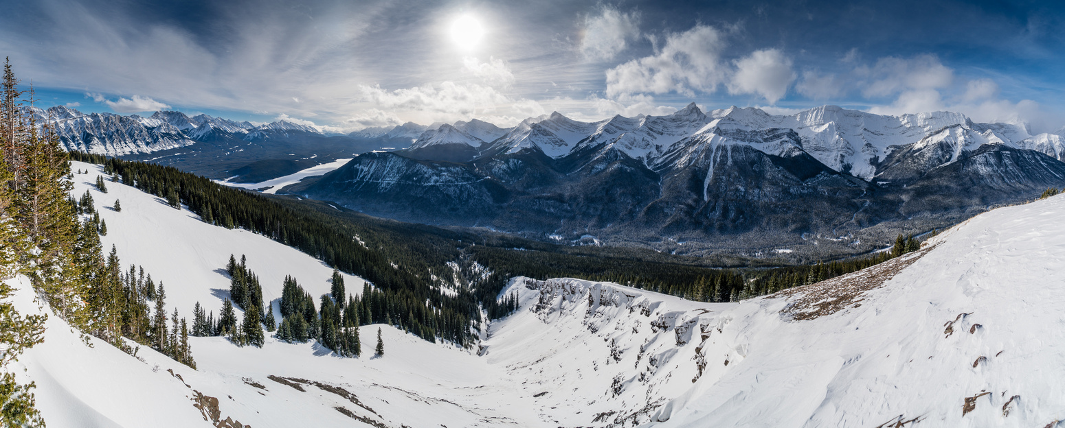 The best views were from just under the summit looking south over the Kananaskis Lakes (L) and towards the Spray Mountains including Mounts Invincible, Warspite and Black Prince.