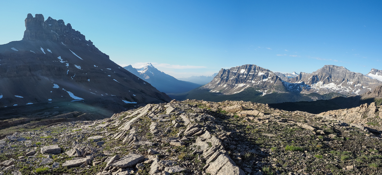 Great views already looking south off Helen Ridge. Dolomite at left with Hector, Bow Peak and Crowfoot to the right.
