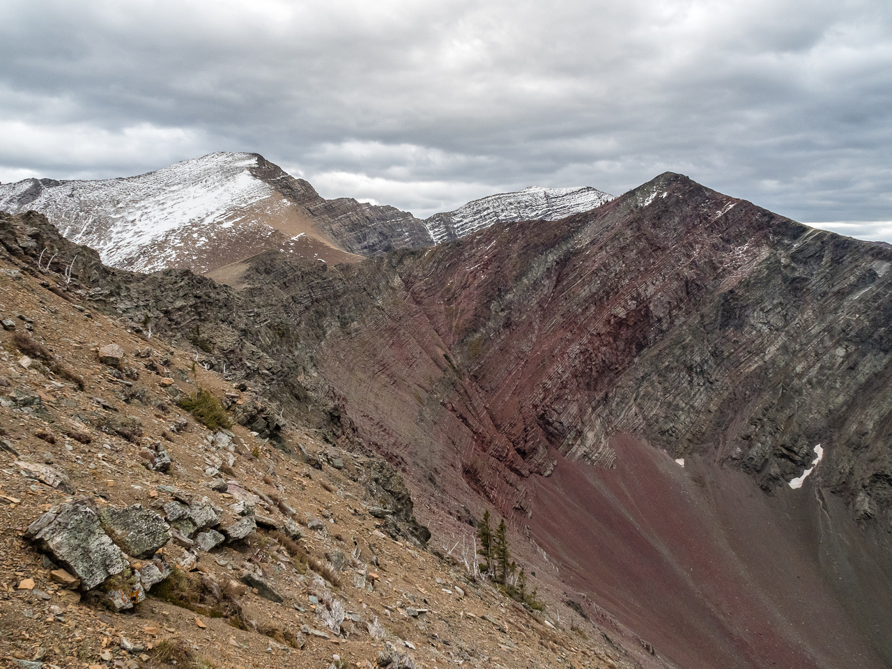 "There's a reason it's called, ""Red Argillite"". Looking back from the start of our traverse."