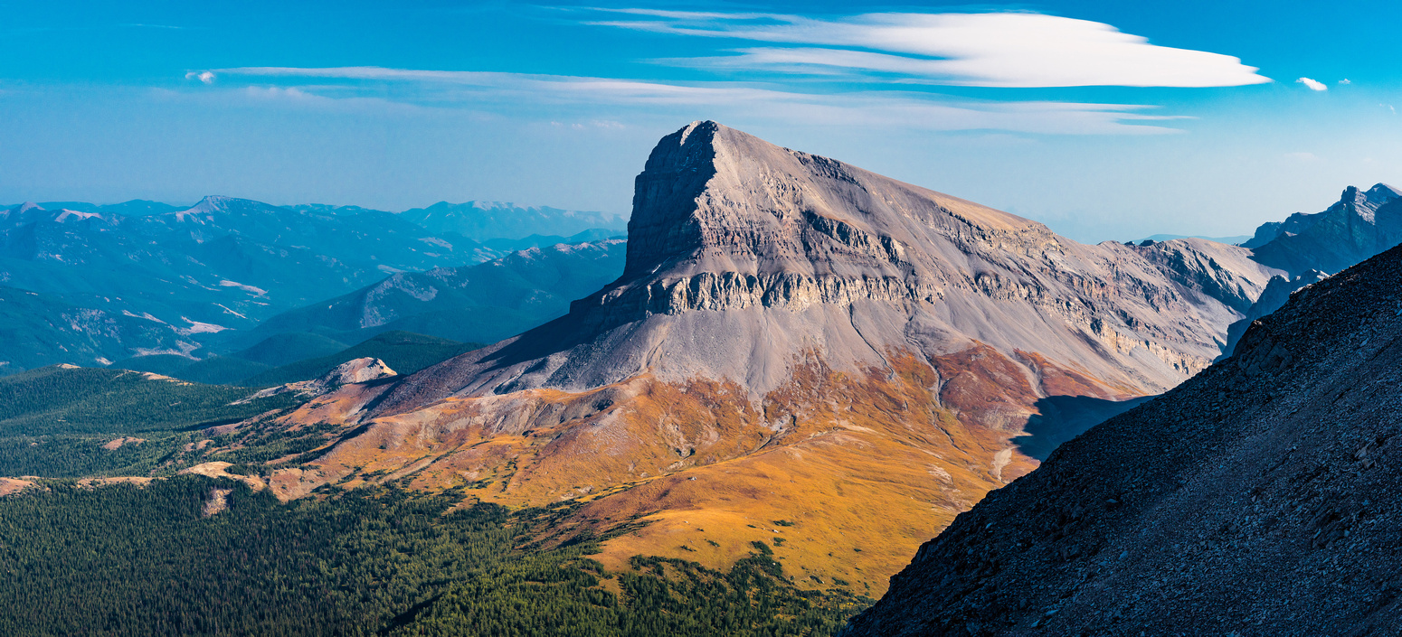 One of my favorite photos from the whole trip is of Beehive Mountain in late day lighting with brilliant alpine meadows and a sharp east face in deep shadow.