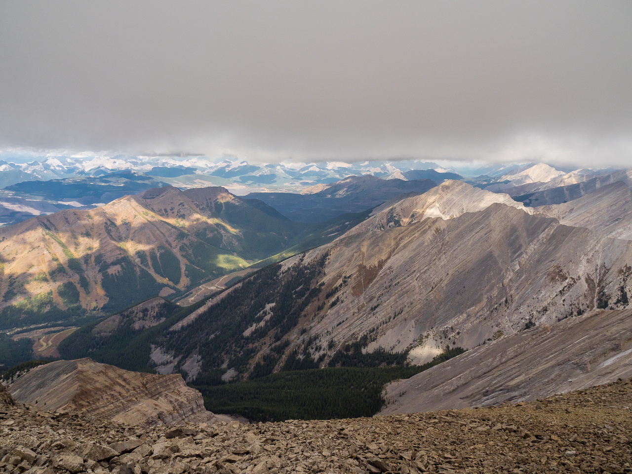 Looking north off the summit towards O'Rourke W3 at right and Greenhill Peak at left and Turnbull at distant center.