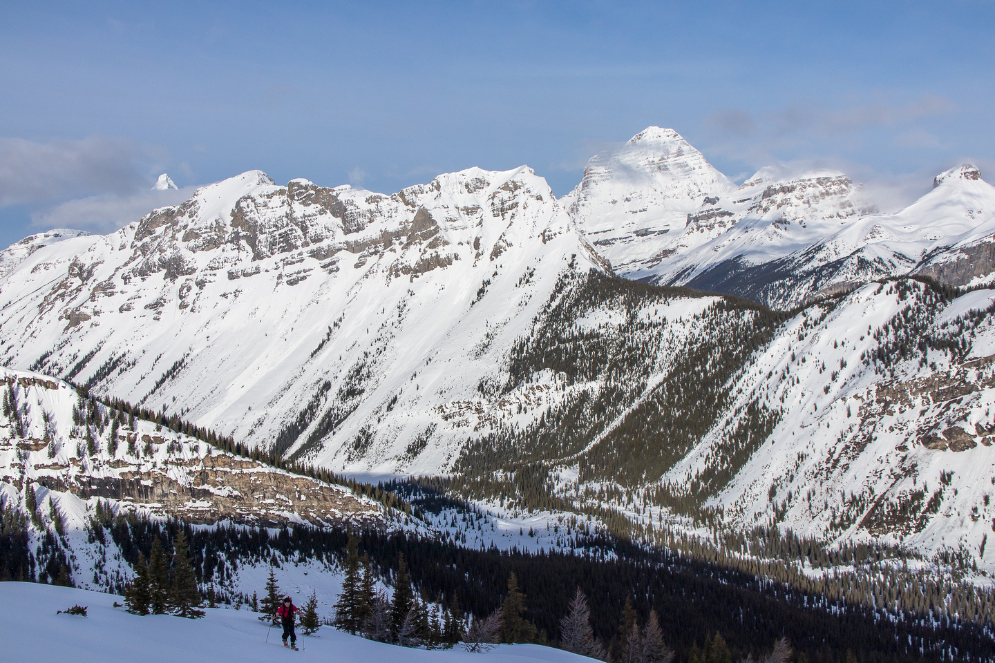Looking over Marvel Peak towards Eon, Aye, Assiniboine Terrapin and The Towers (L to R).