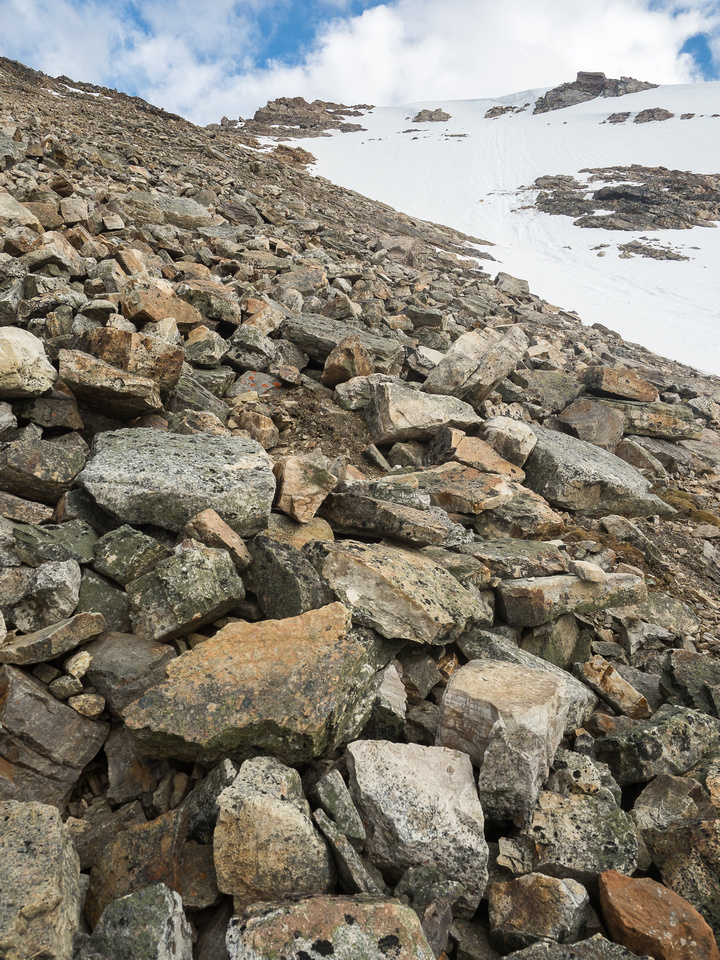The rubble never seems to end! We stuck to the left of the snow patches and had a direct line to the summit from here.