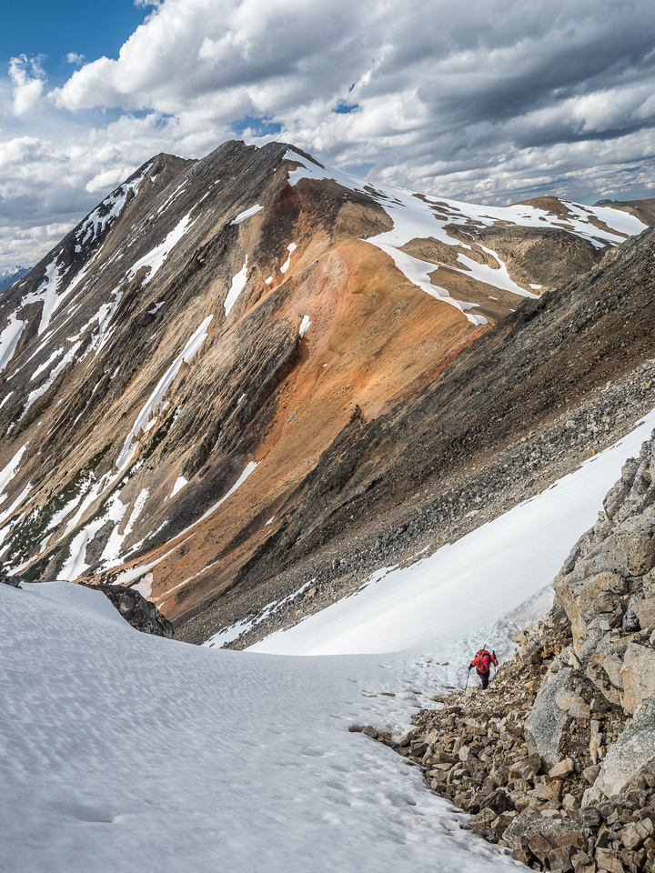 Mike comes up the couloir.