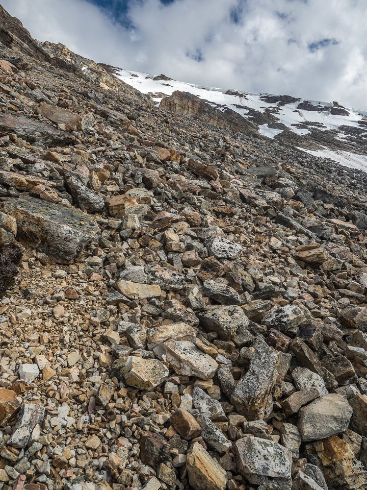 Arg. I'm going to feel this 400m vertical... Very loose terrain on the NW gully / face of Two O'Clock Peak.