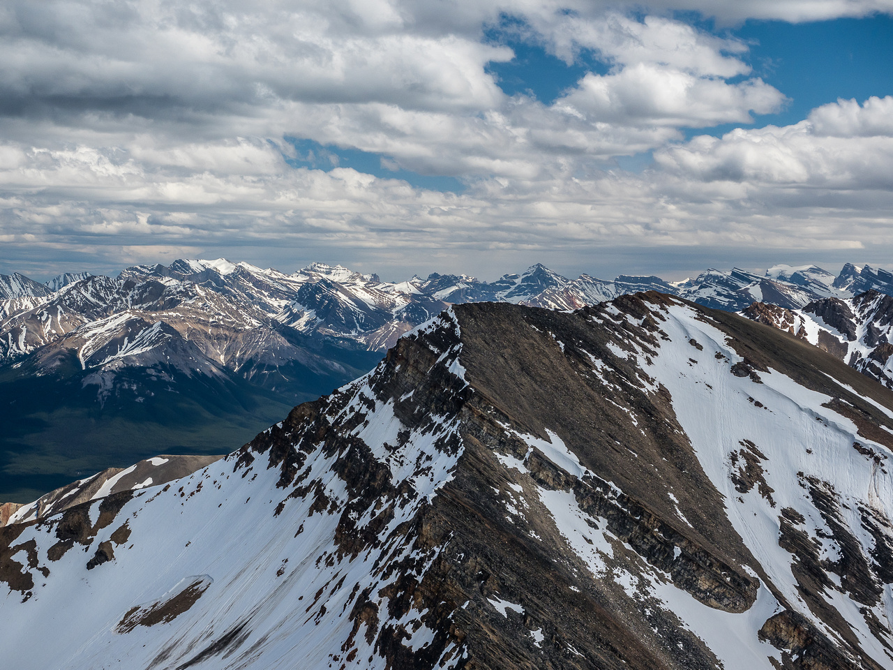 Looking over our next peak (Two O'Clock) towards the Siffleur Wilderness Area.
