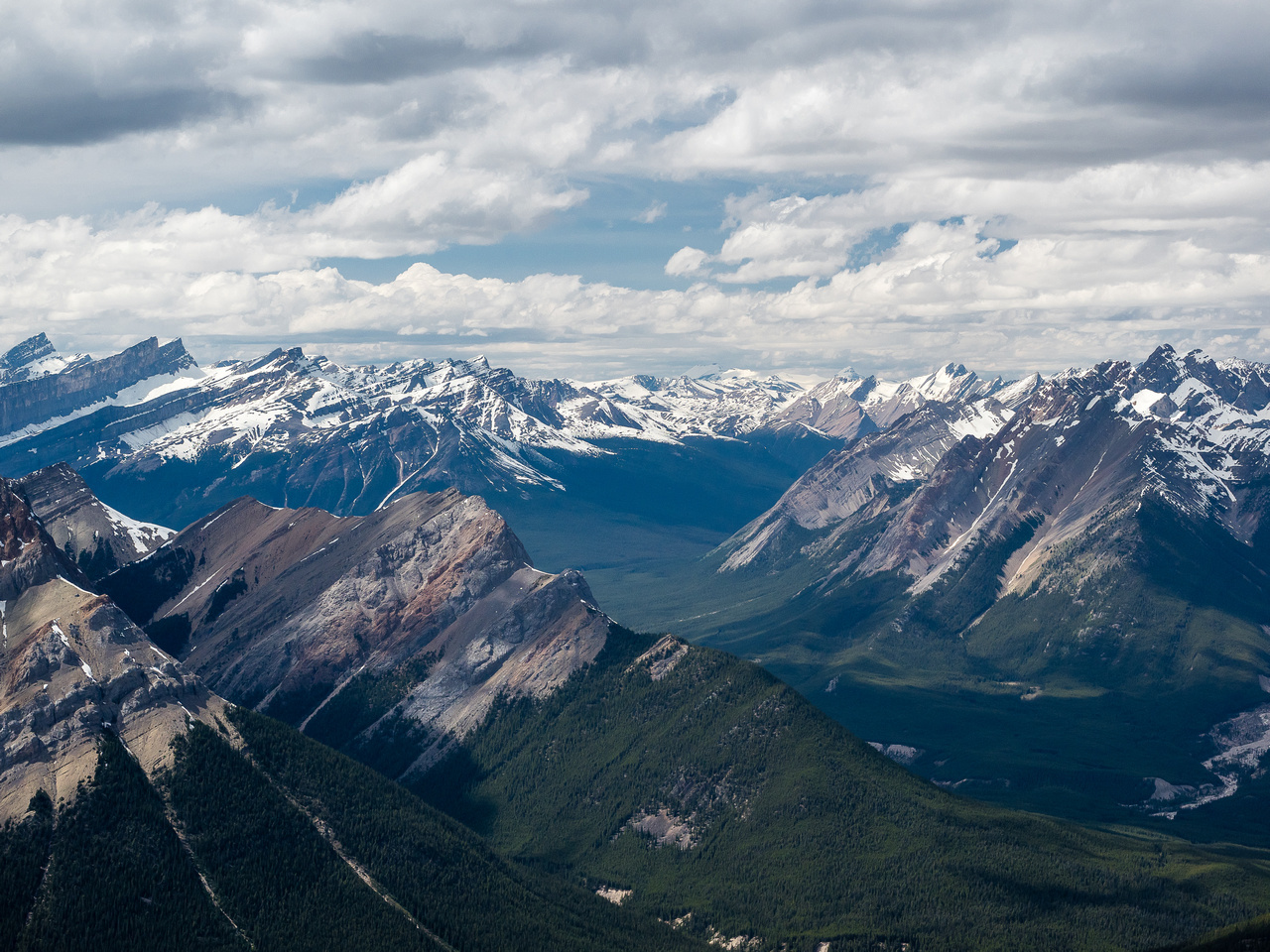 View up the McDonald Creek Valley towards the Cloister Mountains and the White Goat Wilderness Area.