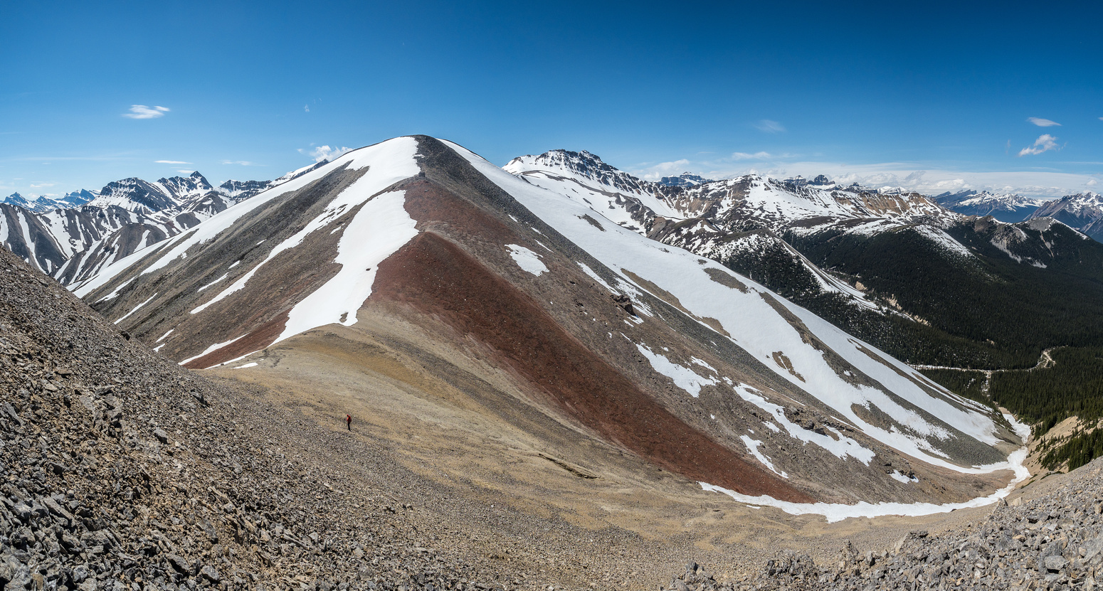 Looking ahead to Landslide Peak - note the intervening colorful hill.