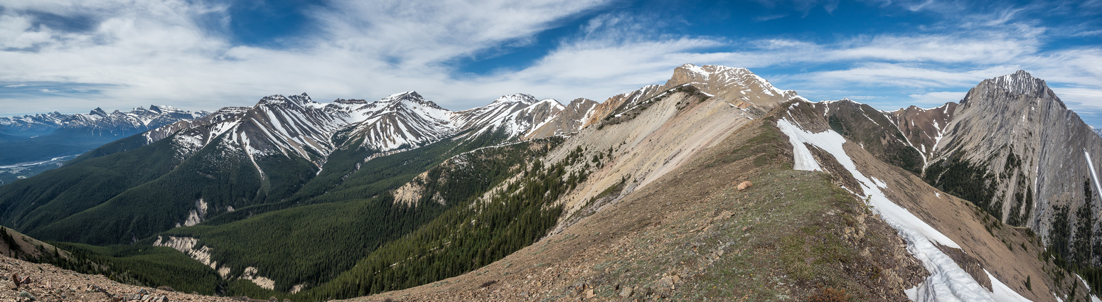 Bridge is directly ahead with Elliot Peak at right. Landslide, Two O'Clock and Whirlpool Ridge at left.