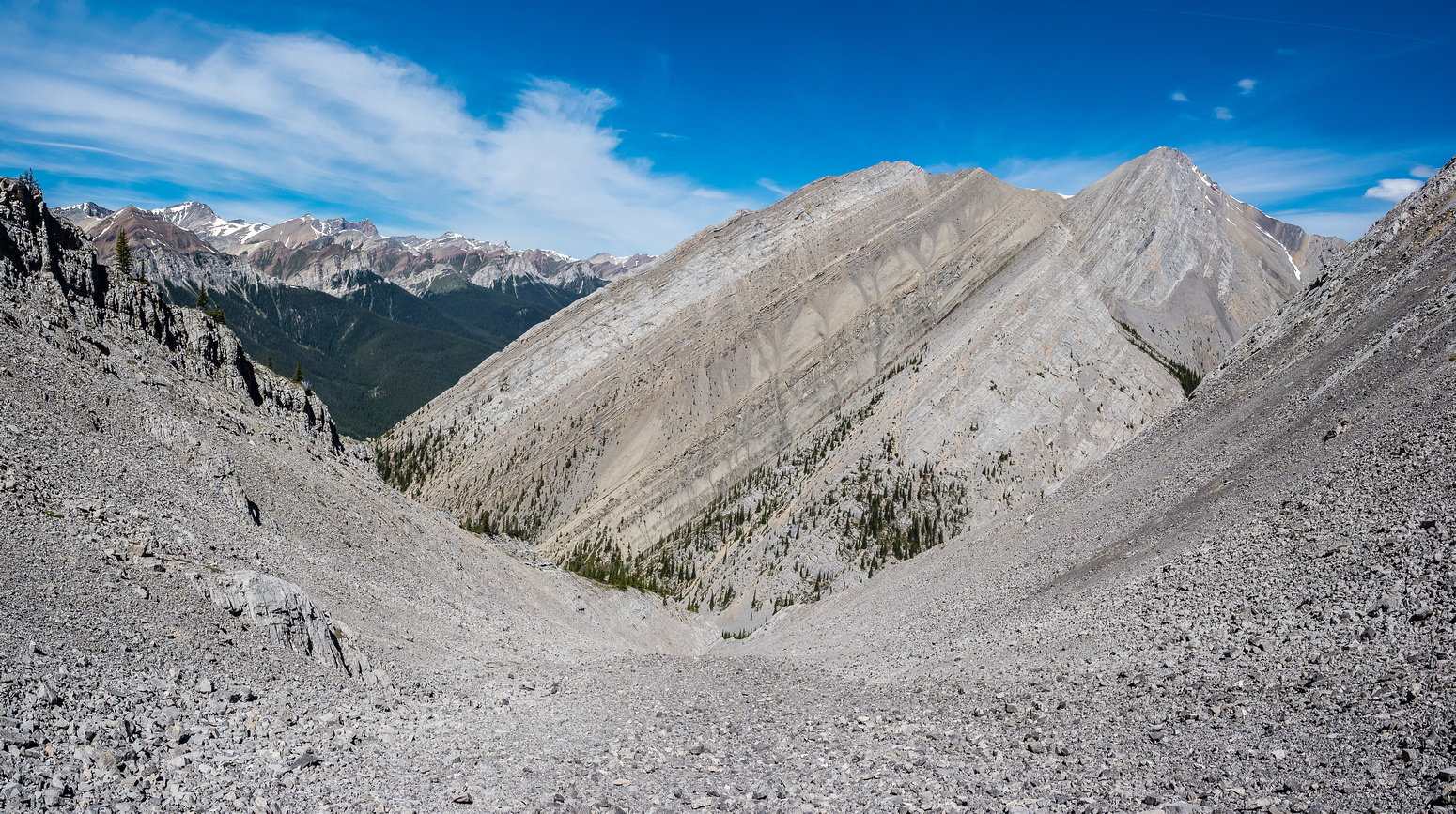 Higher up the scree gully, looking back towards Bright Star - the summit not visible here.