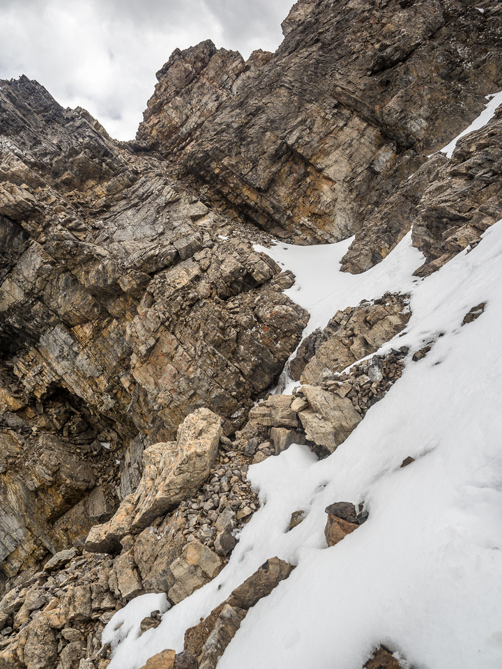 I tried negotiating this terrain but it simply wasn't worth the risks. The snow had ice underneath and the loose rock beyond it was very exposed.