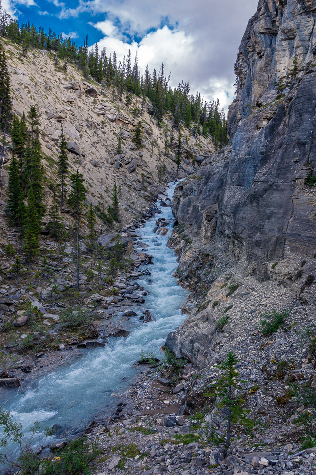 Cliffs on the right and a raging, deep torrent on the left.