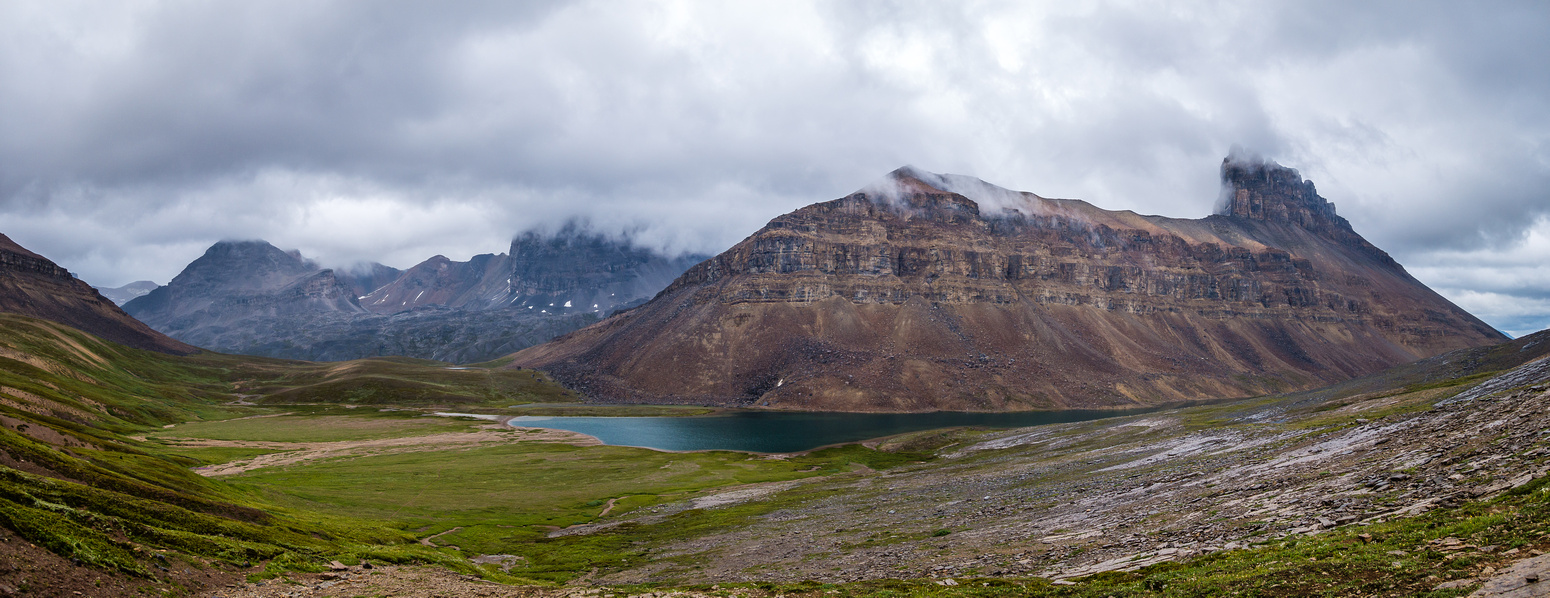 Looking down into the Dolomite Creek valley at Lake Katherine and Dolomite Peak.