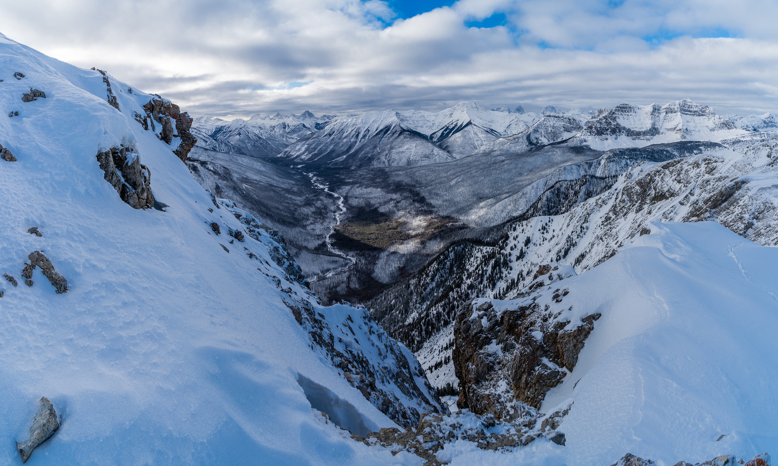 Incredible views down the recently charred Simpson River valley looking past Mount Shanks and directly towards Split Peak
