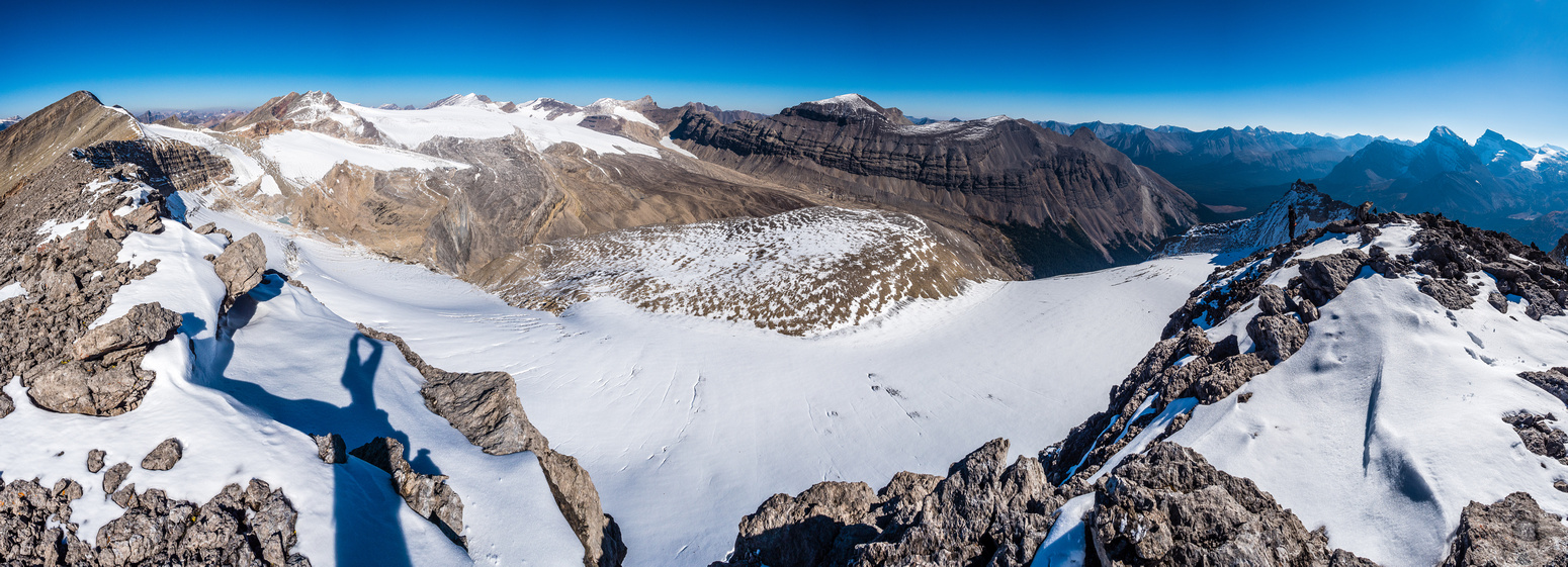 Summit views over the Drummond Icefield. Cyclone at far left and Drummond at center-right.