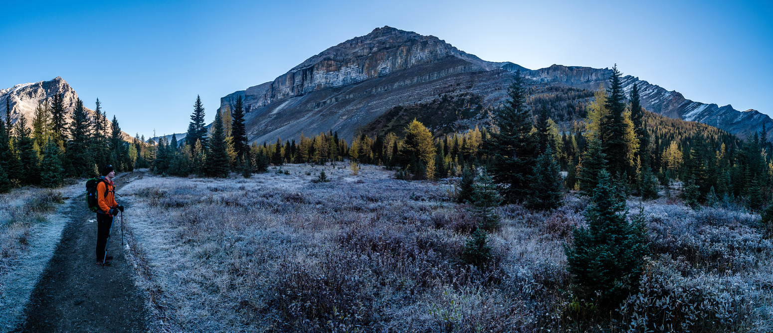 Deep frost surrounds us as we arrive at the bottom of Boulder Pass. Redoubt Mountain looms over us here.