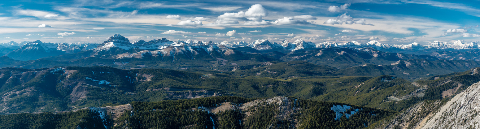 A great panorama of the High Rock Range from Crowsnest Mountain at left to Tornado at right.